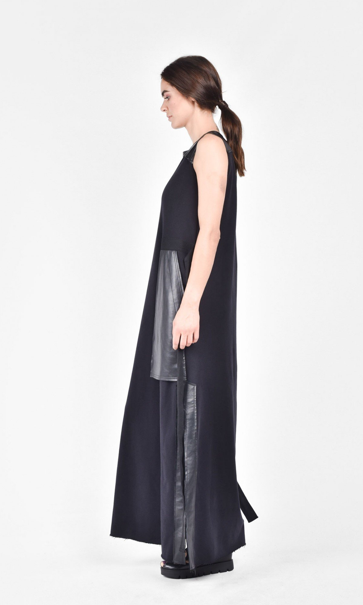 Black Leather Side Pockets Dress A03374