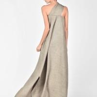 One Shoulder Melange Beige Dress A03380
