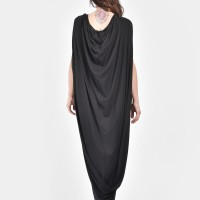 Sexy Black Extravagant Cape Dress  A03395