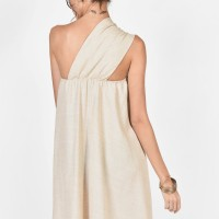 Sexy Mini Linen Dress with bare shoulder A03426