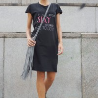 Dresses - Sexy Summer Black T-shirt Dress A90060