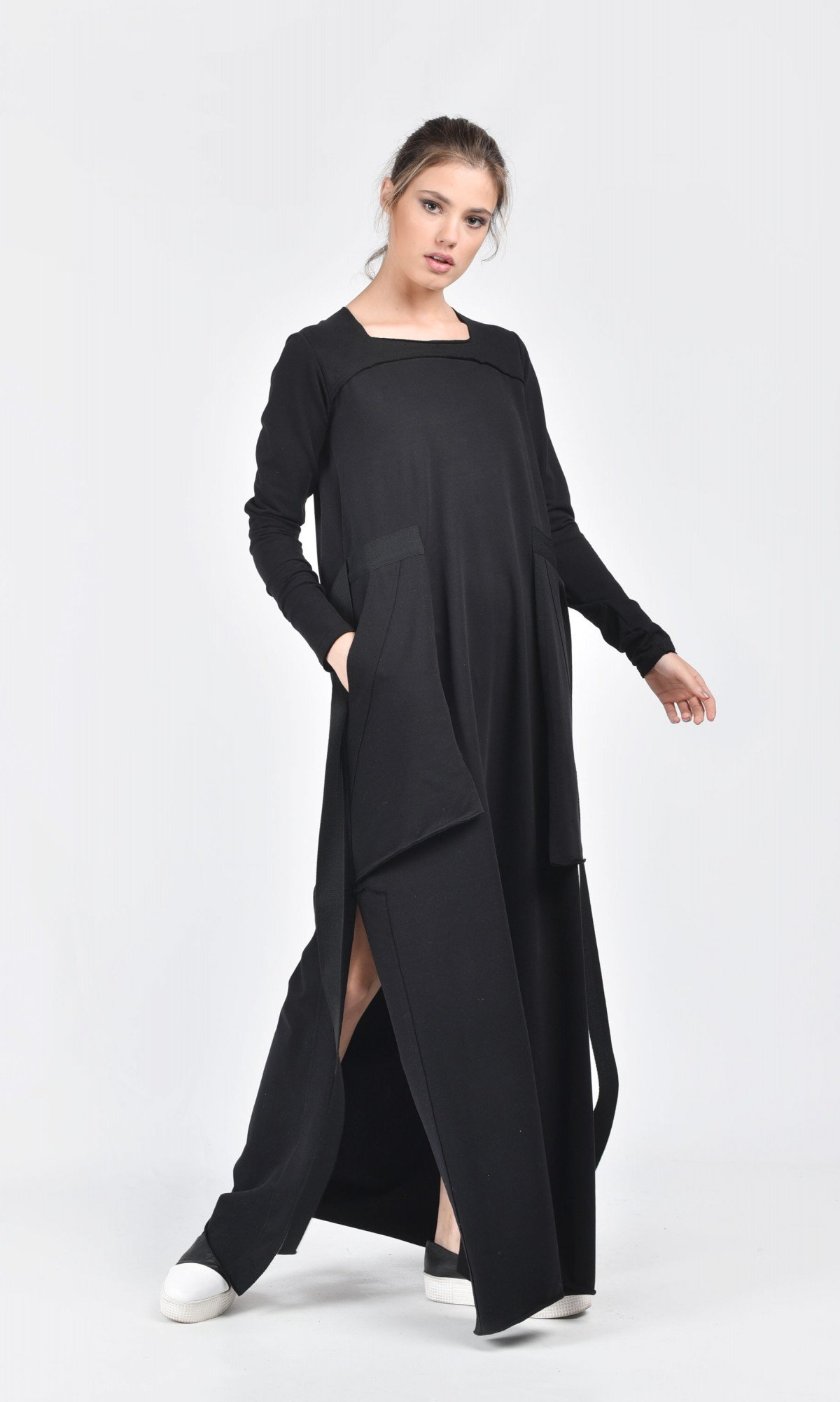 Maxi Cotton Dress with Side Pockets