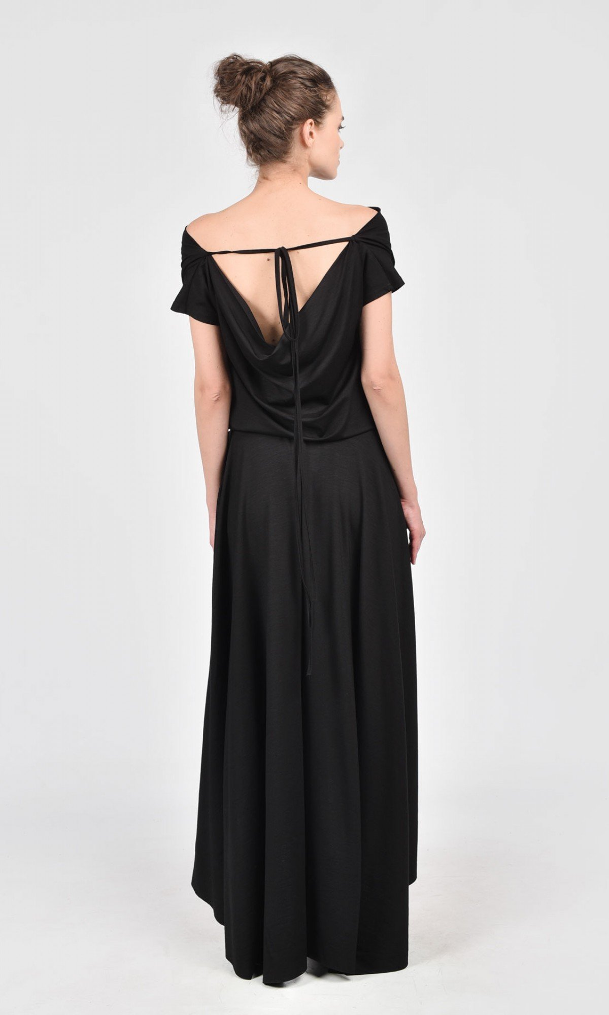High Low Black Maxi Dress A03474