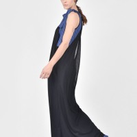 Black and Royal Blue Combo Dress A03485