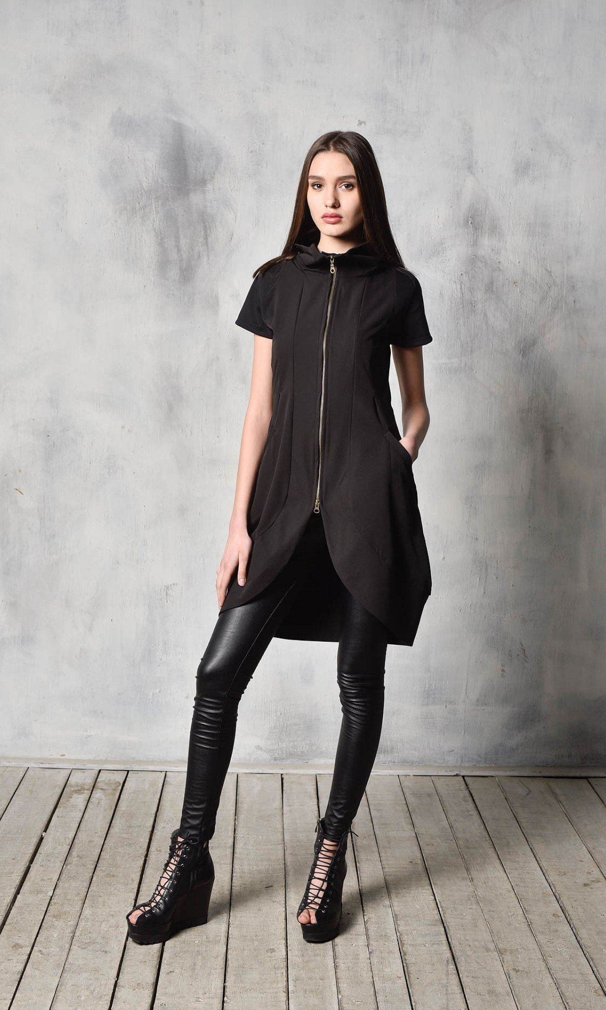 Black Tunic Dress with Front Zipper