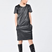 Mini Elegant Faux Leather Dress A03508