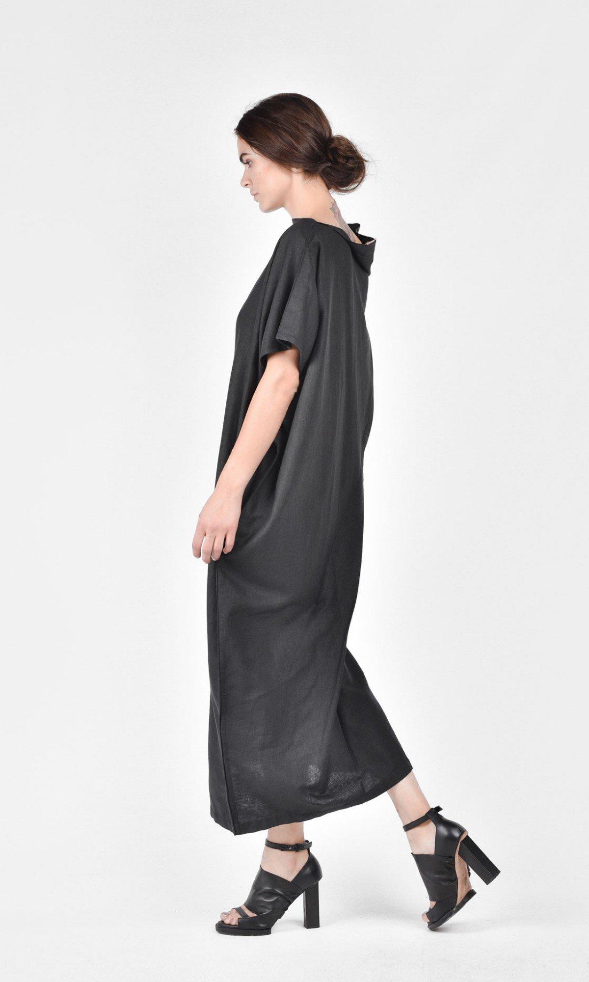 Sleeveless Linen Dress Asymmetric Dress A03544