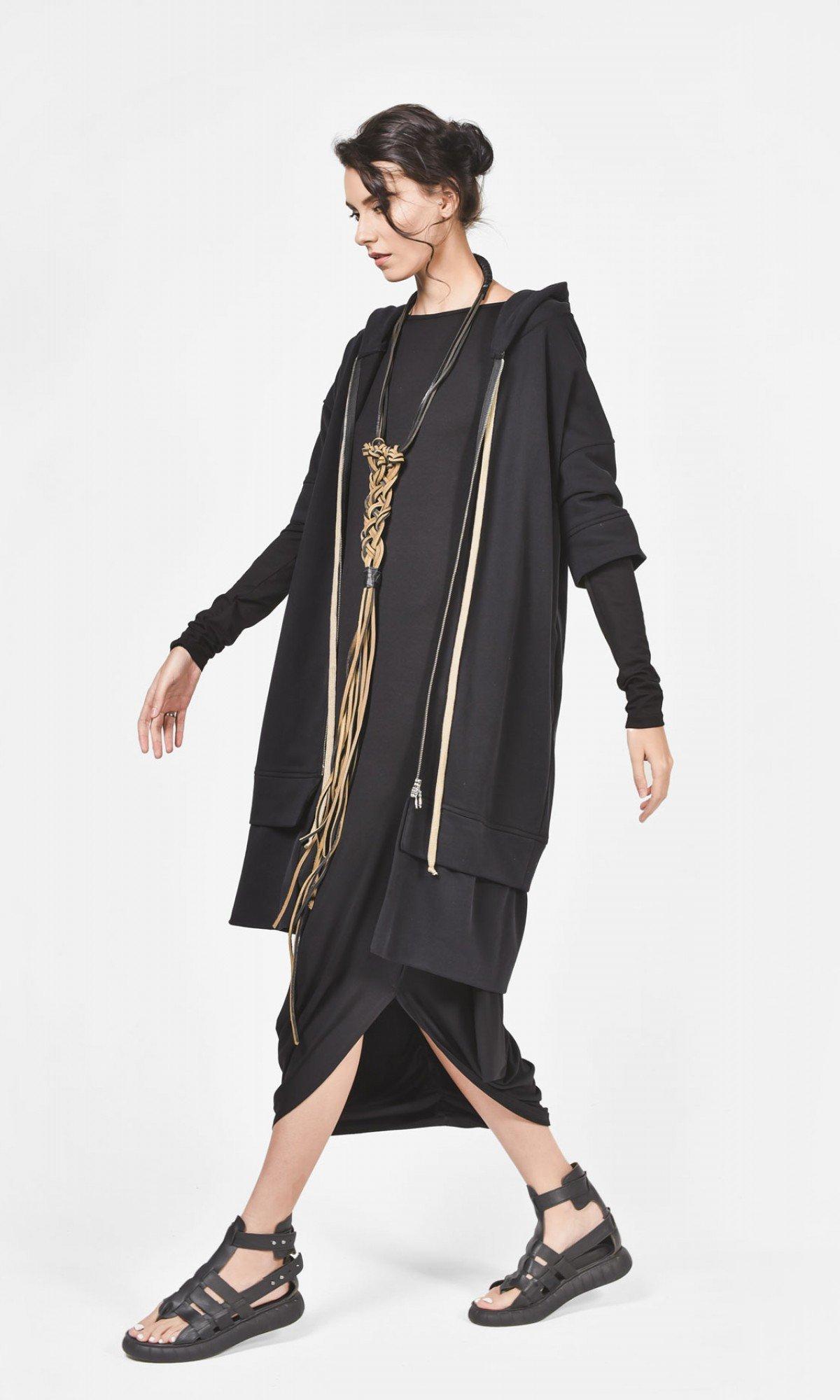 Asymmetric Black Dress with front linen pocket A03597