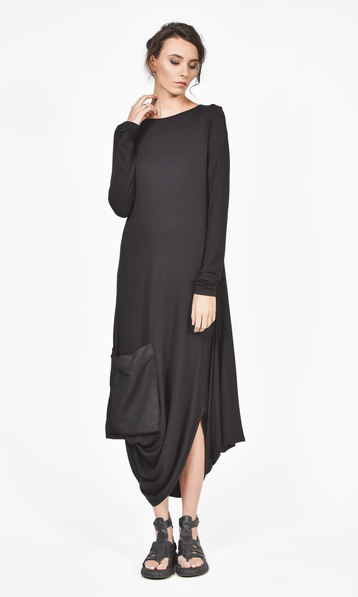 Asymmetric Black Dress with front linen pocket A03597
