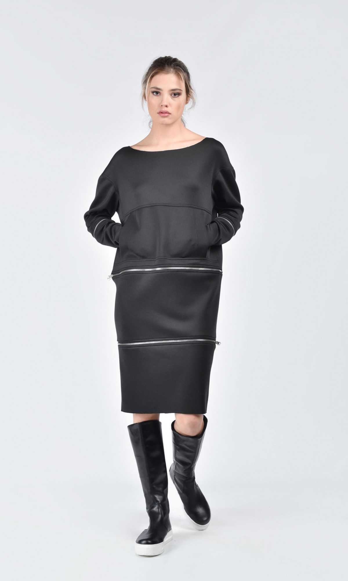 Extravagant Black Detachable 3 Pieces Tunic A08183