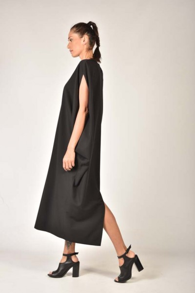 Black Back Slit Tunic Dress A90031