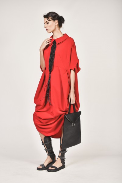 Short Sleeve Draped Dress A90044