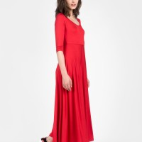 Draped mid sleeve dress A90064