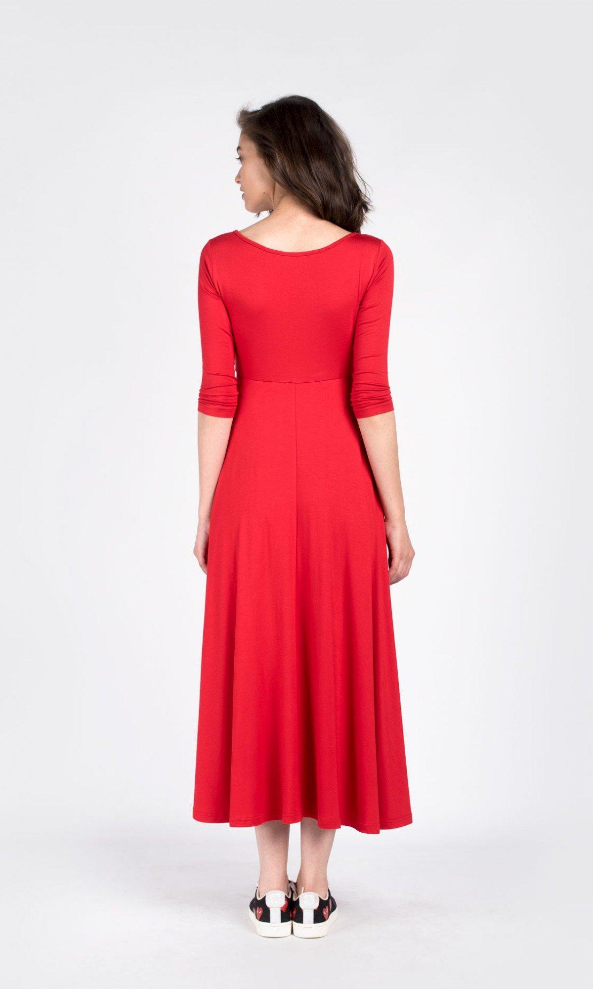 Draped mid sleeve dress A03758