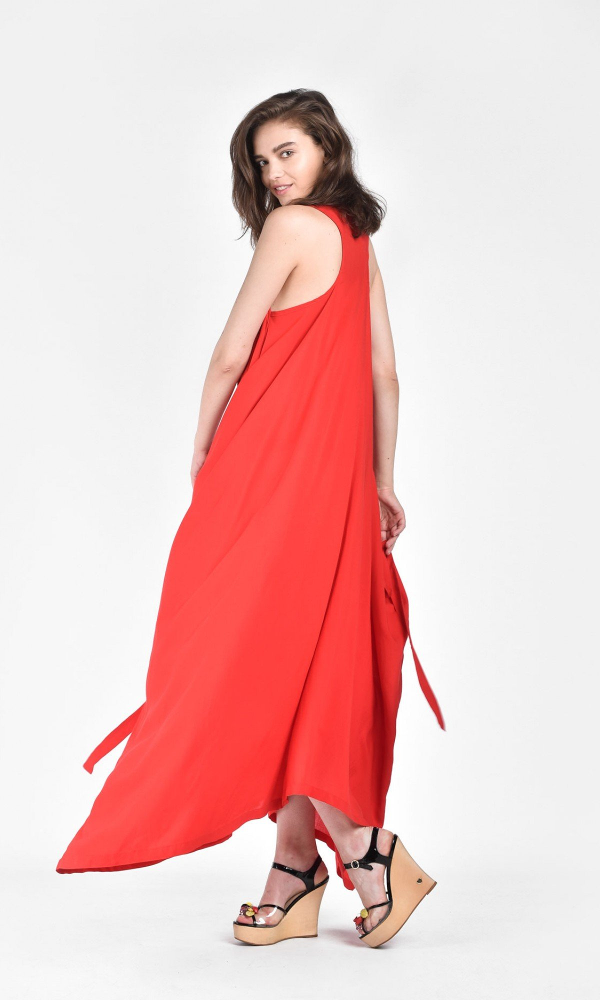 Draped sleeveless dress with adjustable belt A03633
