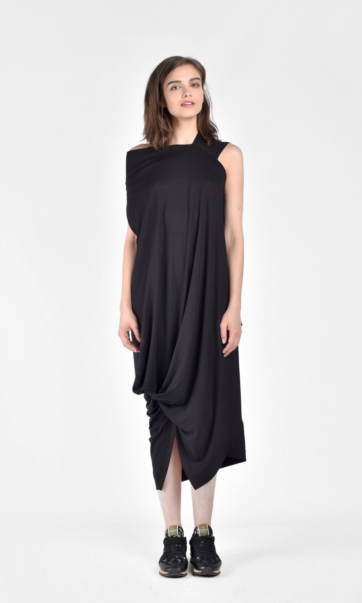 draped asymmetric mid length dress