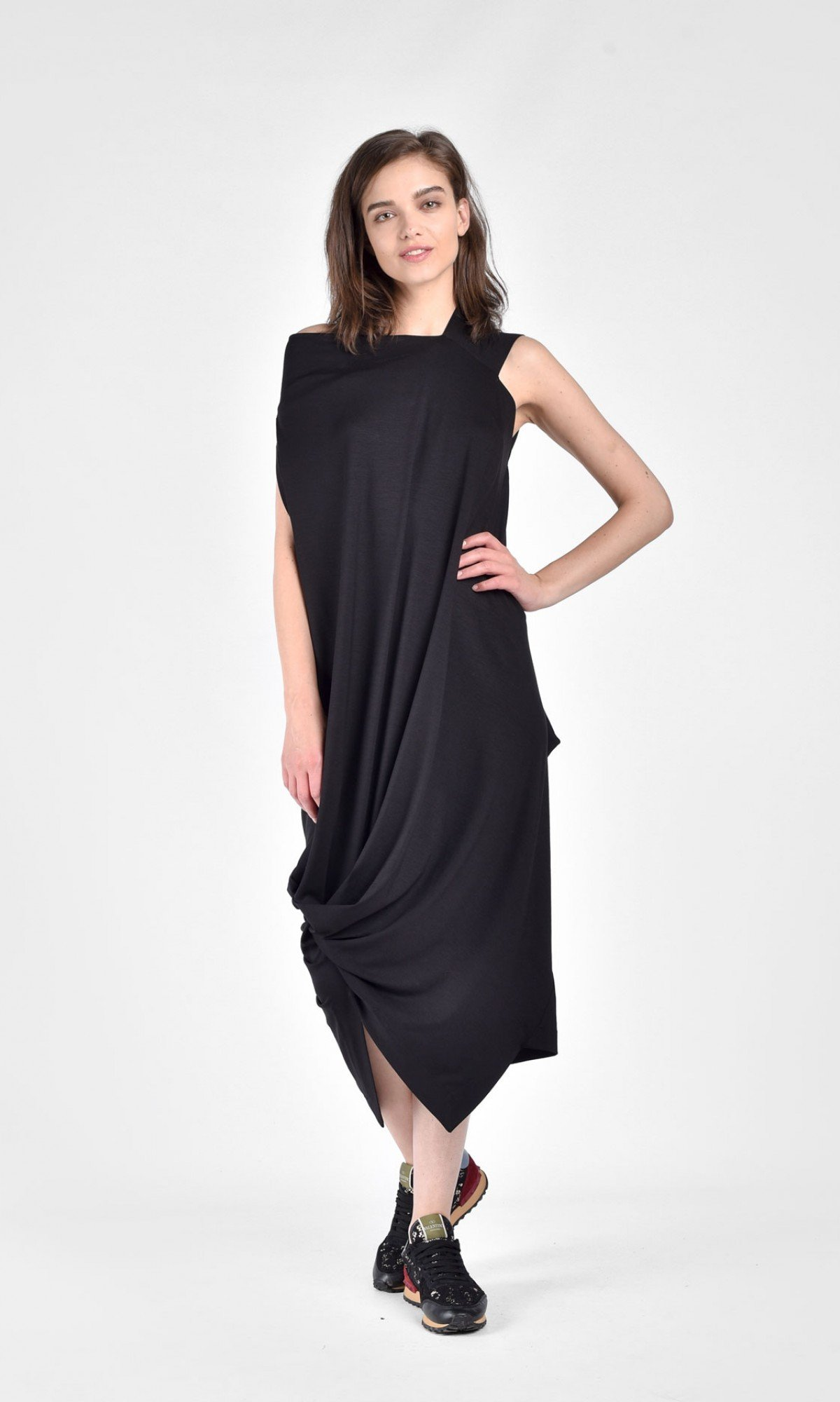 Draped asymmetric mid length dress A90075