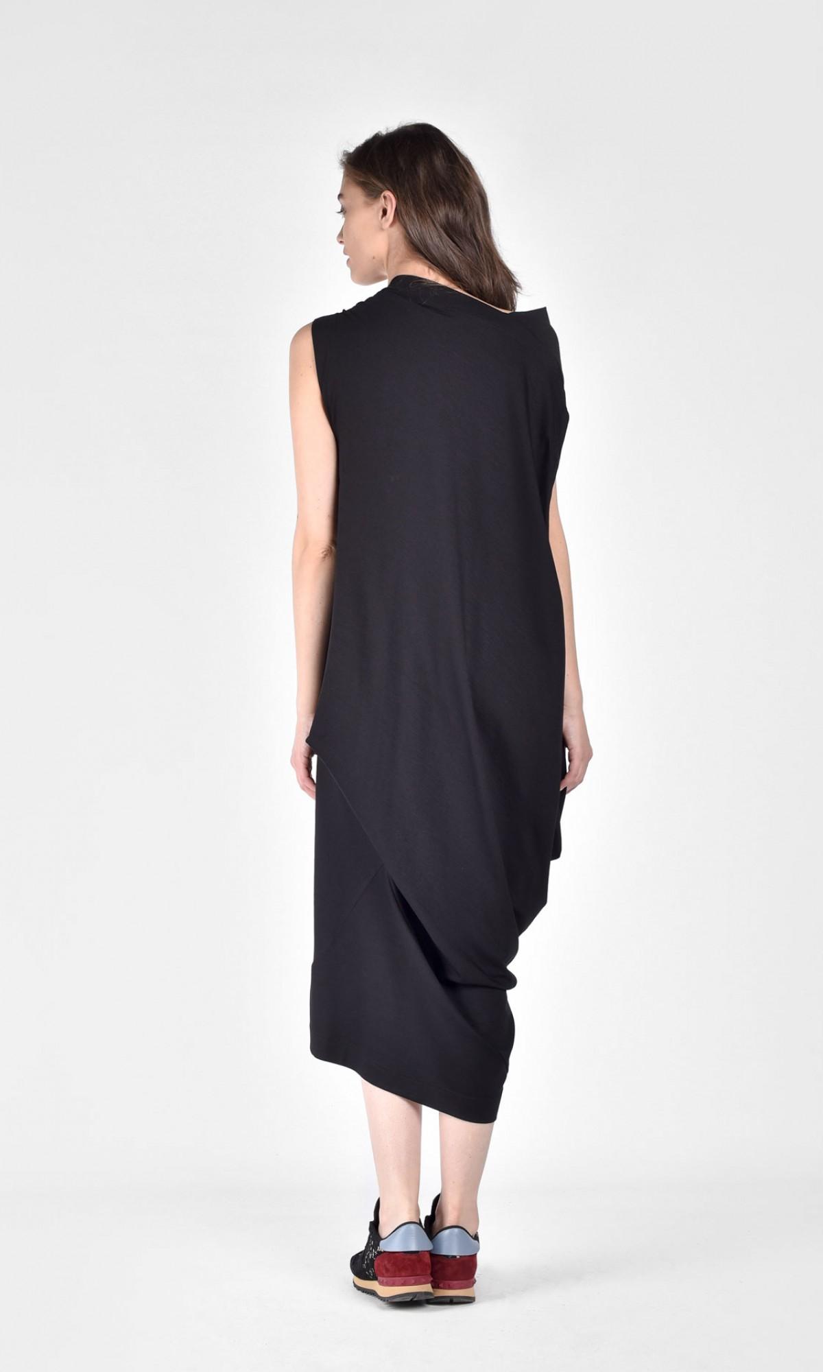 Draped Asymmetric Mid Length Dress
