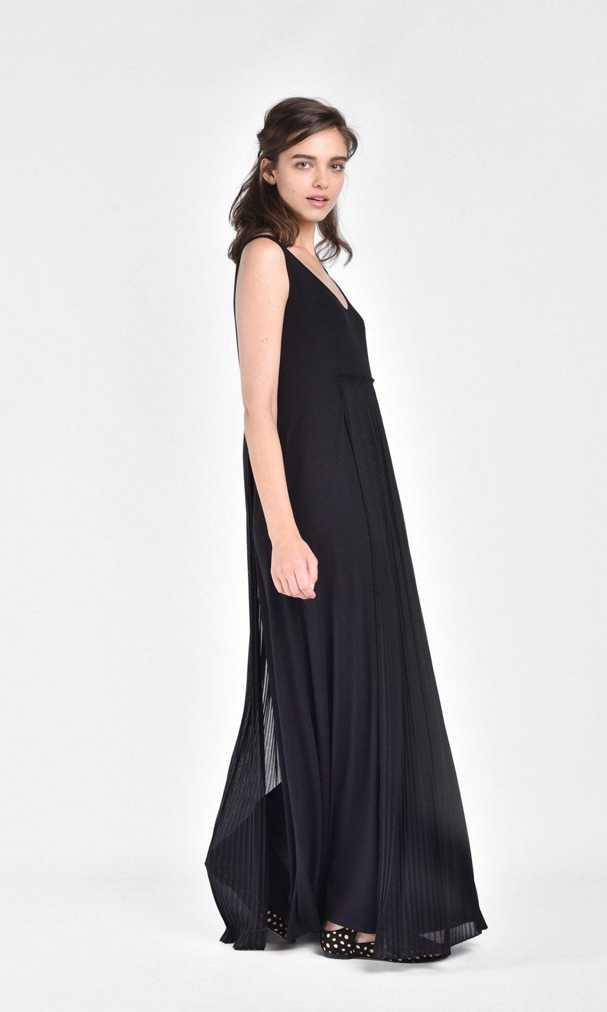 Sleevless High Waist Pleated Dress  A90084