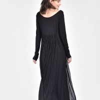 Long Sleeve High Waist Pleated Dress  A03665
