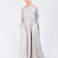 Aakasha x Jiawa Liu Beautiful linen maxi dress with belt A90128