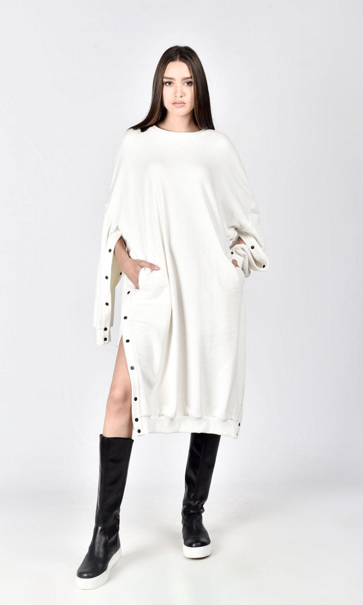 Sweatshirt Dress With Side Buttons
