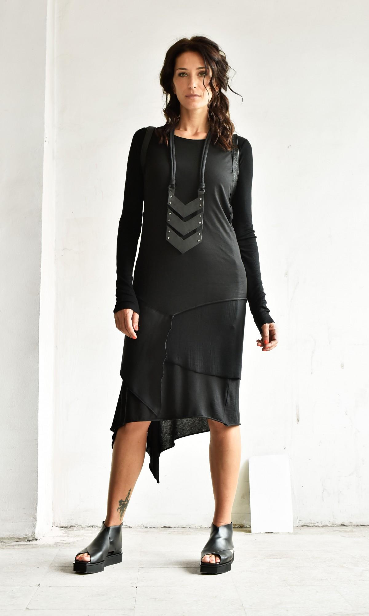 Asymmetric Long Sleeve Layer Dress A03788