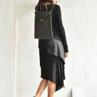 Asymmetric Long Sleeve Layer Dress A90300