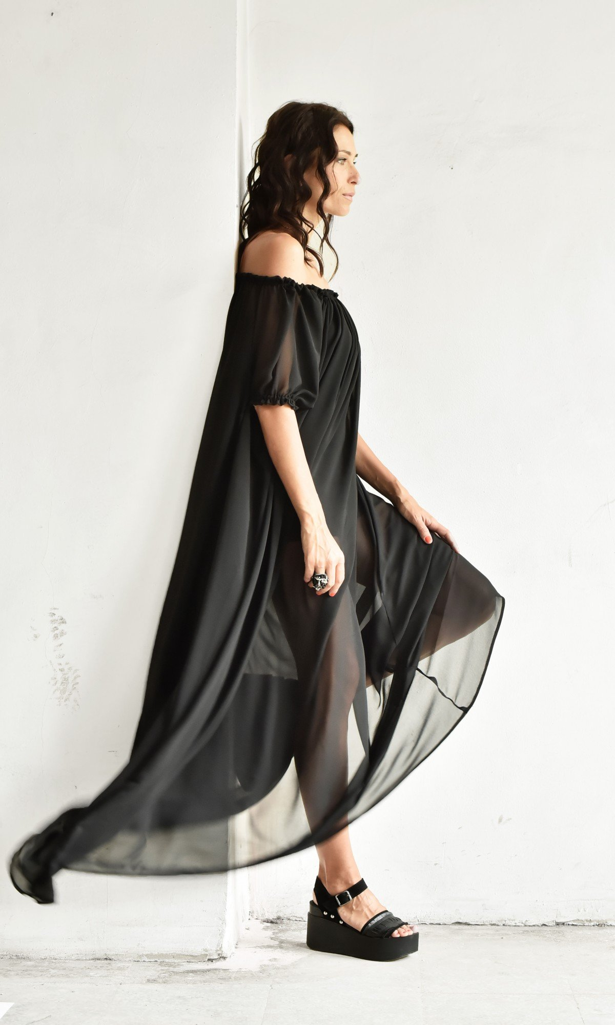 Off Shoulder Sheer Maxi Dress A90309