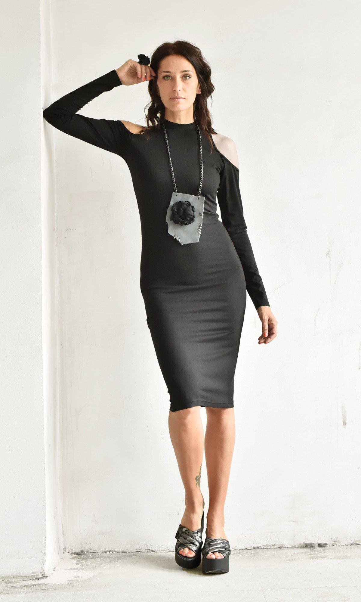 Cut off shoulder bodycon dress A90312