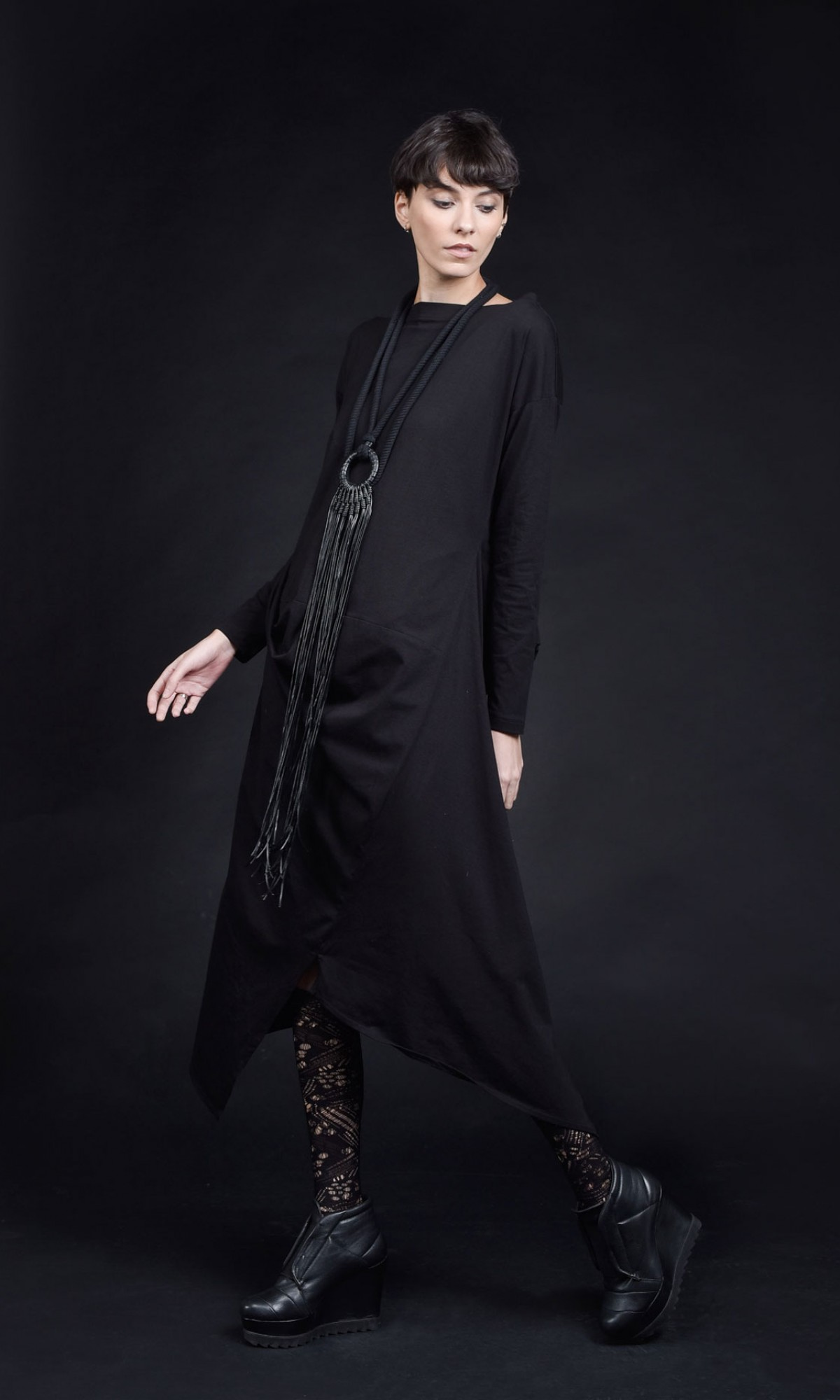 Asymmetric Long Sleeve Elegant  Dress A90402