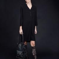 Long Sleeve Eco Leather Shirt dress A90409