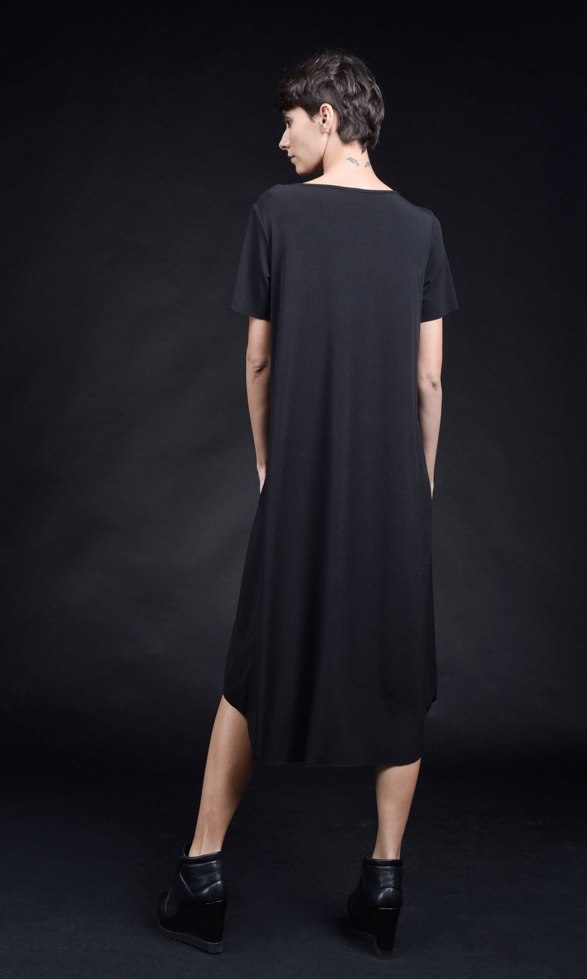 Asymmetric Long Sleeve Layer Dress A90410