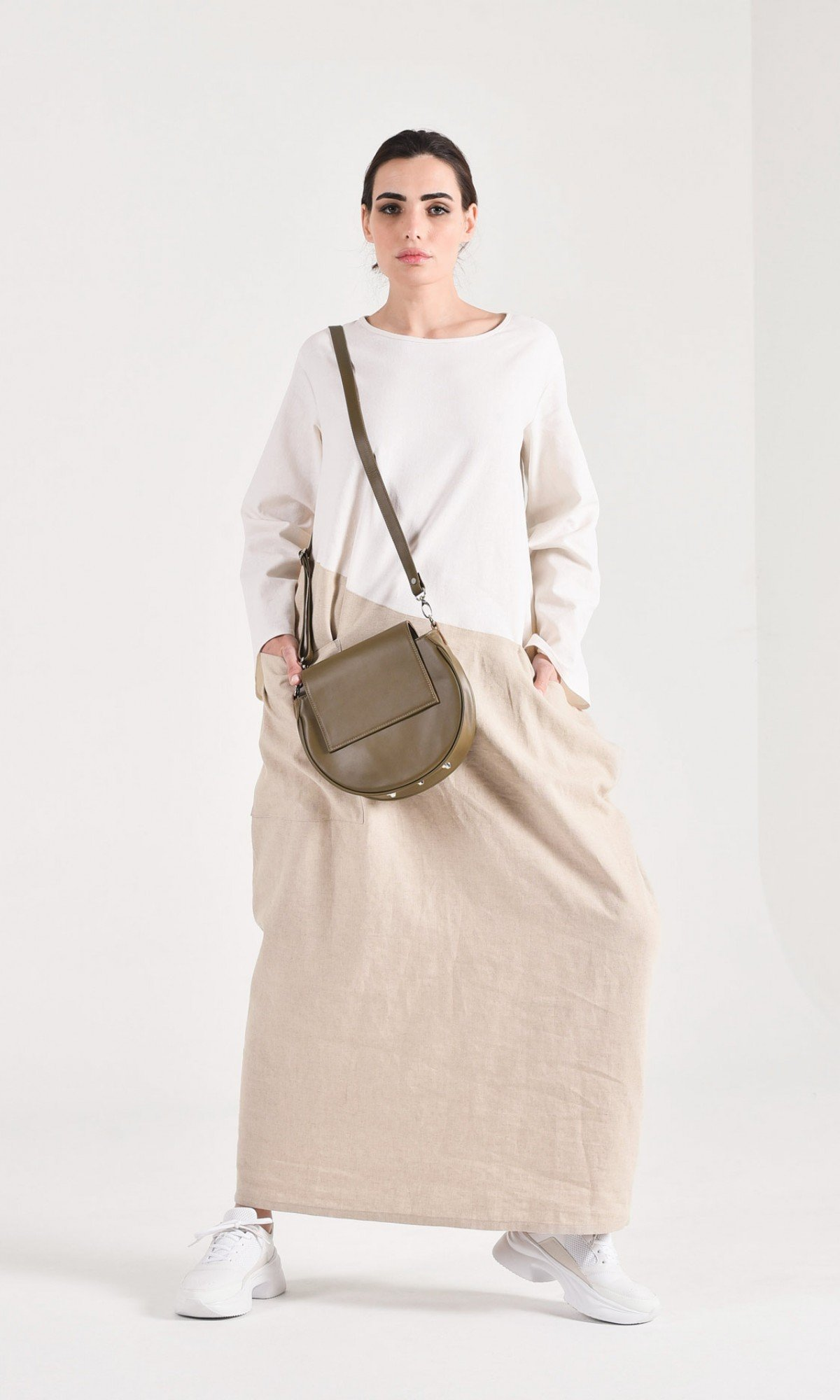 Long Sleeve Linen Baggy Dress A90450