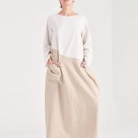 Long Sleeve Linen Baggy Dress A90450