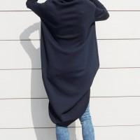 Black Maxi Asymmetric Hoodie A08023