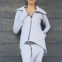 Extravagant Asymmetric Zipper Blazer A08371