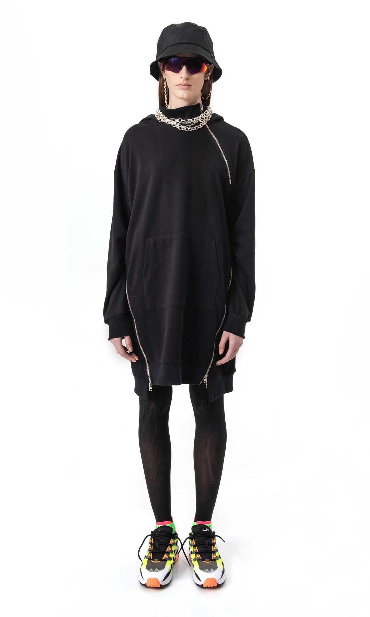 Extra Long Hoodie Dress A08895
