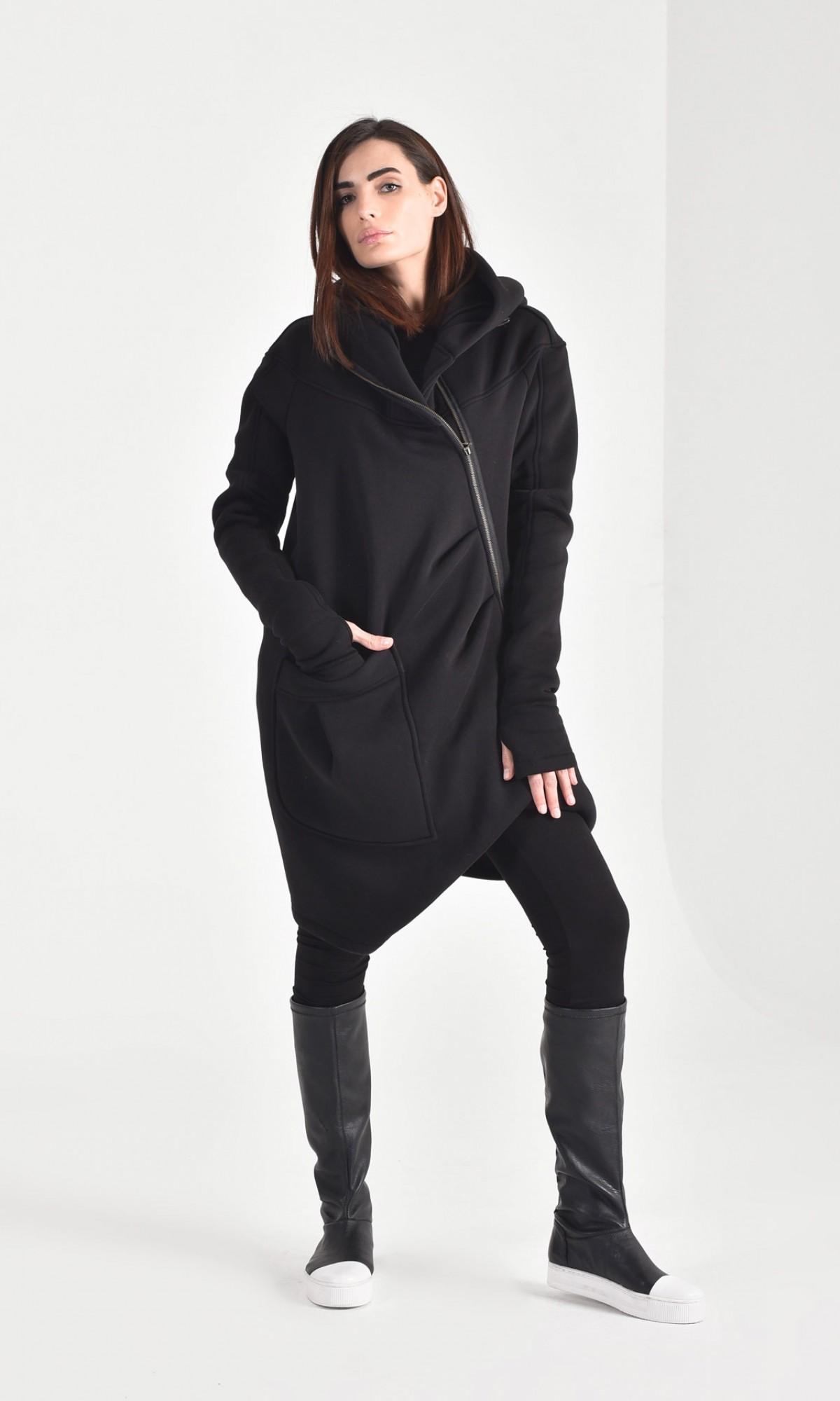 Extravagant Asymmetric Hooded Coat A07015