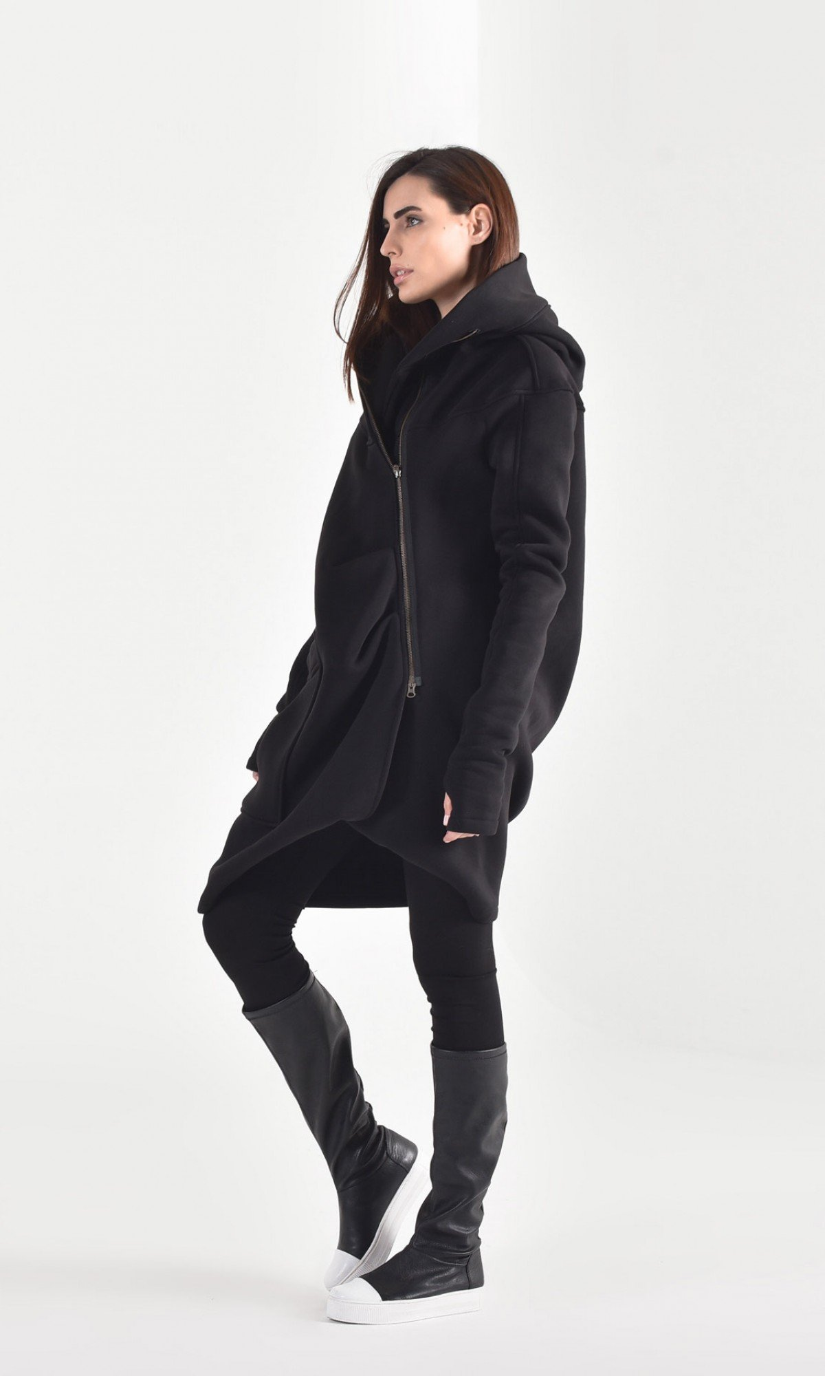Extravagant Asymmetric Hooded Coat A07015