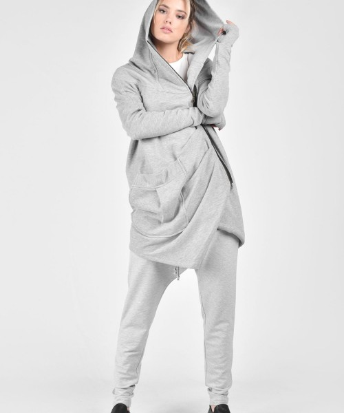 Extravagant Asymmetric Light Grey Hooded Coat A07018