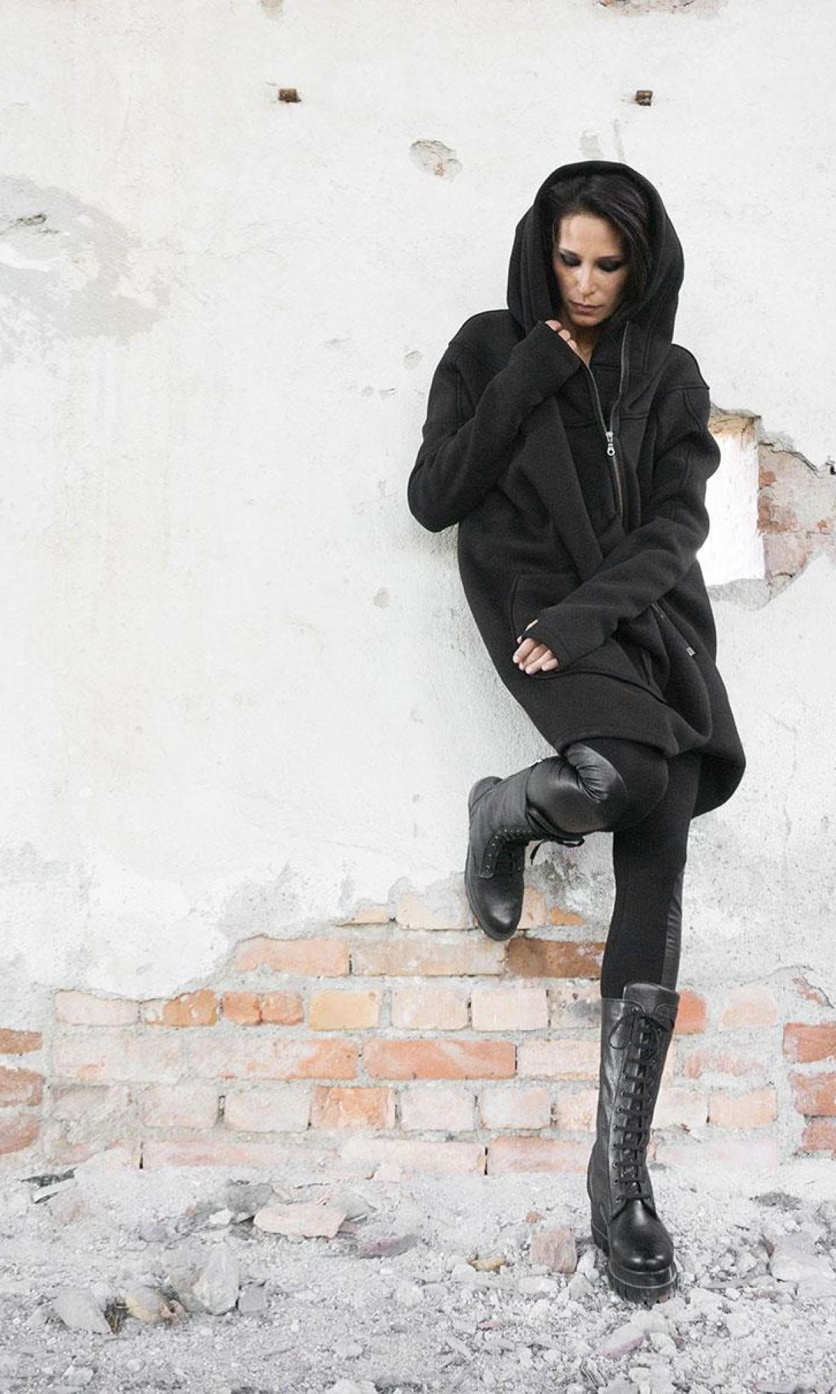 Lined Warm Asymmetric Hooded Coat A07177