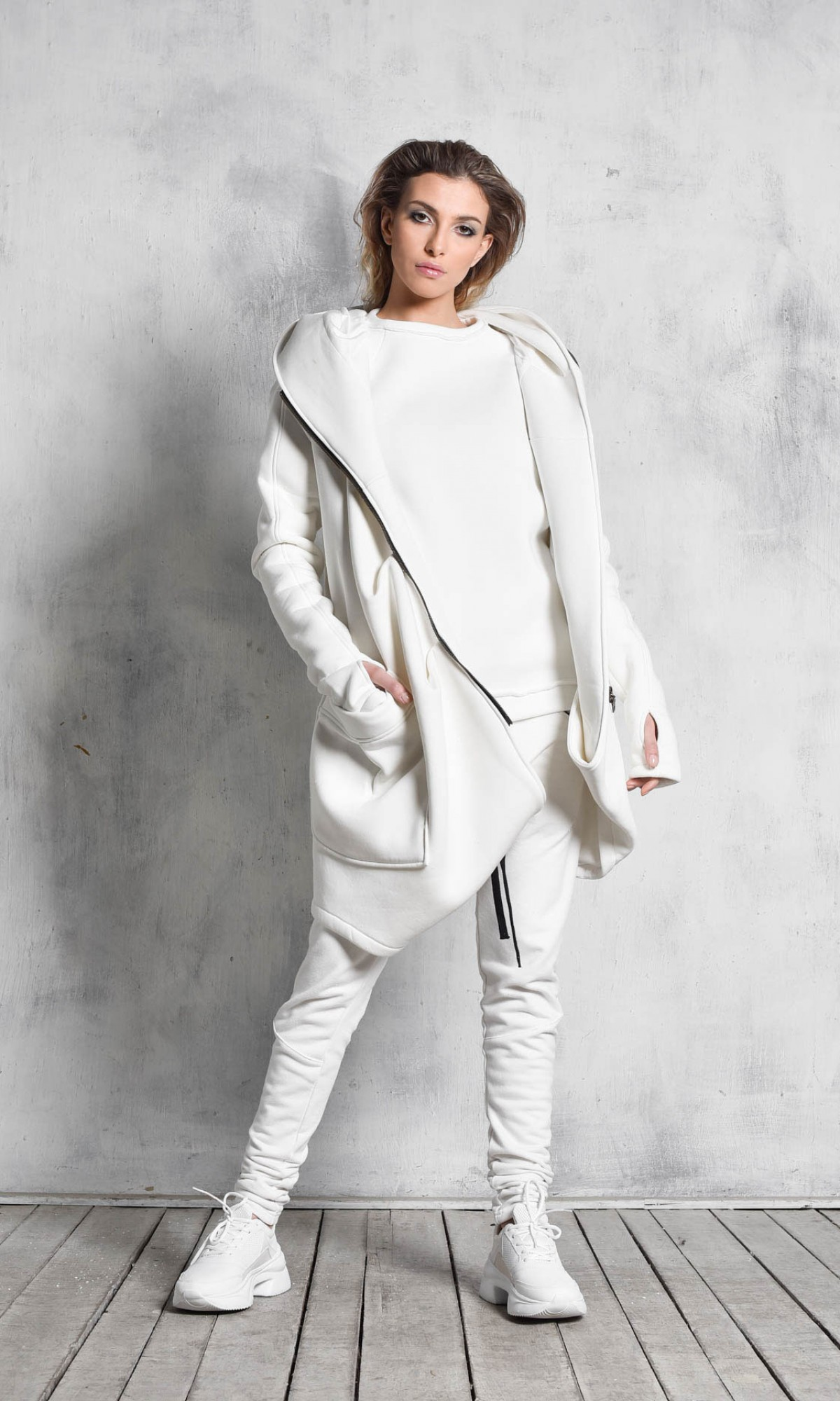 Lined Warm Asymmetric Hooded Coat A07177