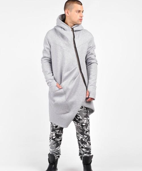 Asymmetric Extravagant Black Hooded Coat A07177M