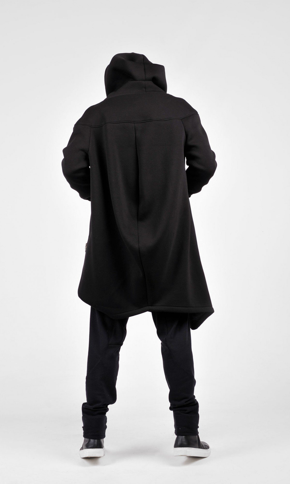 Asymmetric Extravagant Black Hooded Coat A07177M