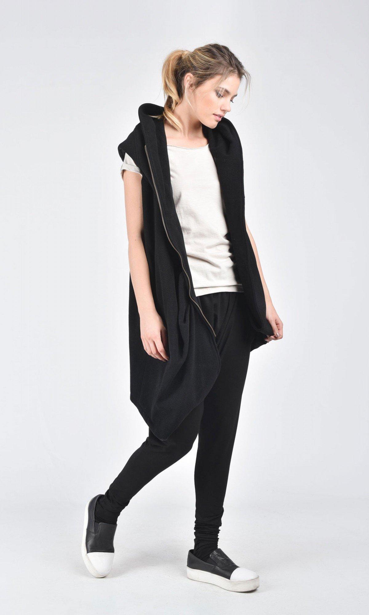 Asymmetric Black Hooded Sleeveless Coat