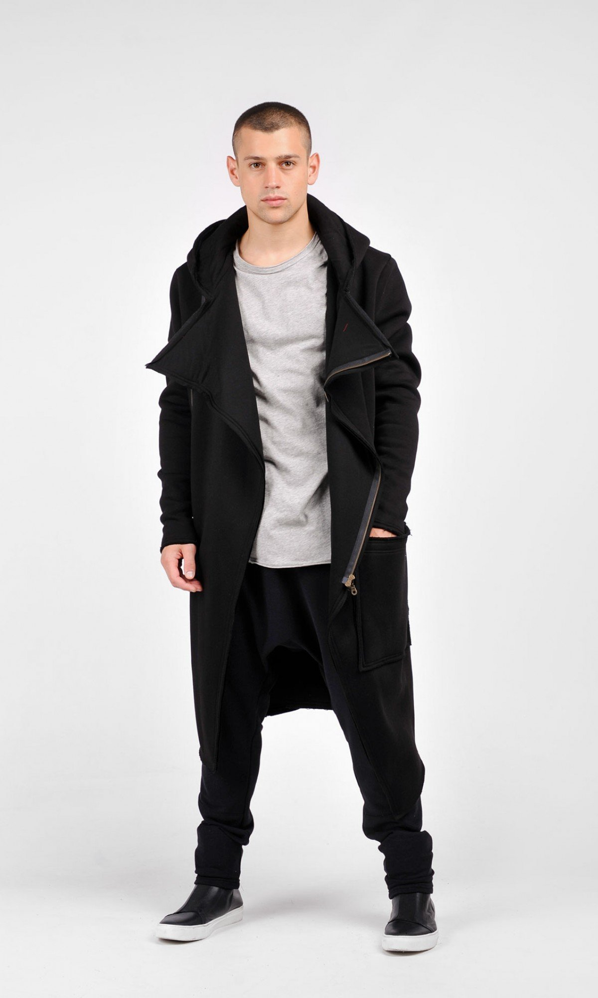 Black Hooded Lined Soft Cotton Coat A07236M