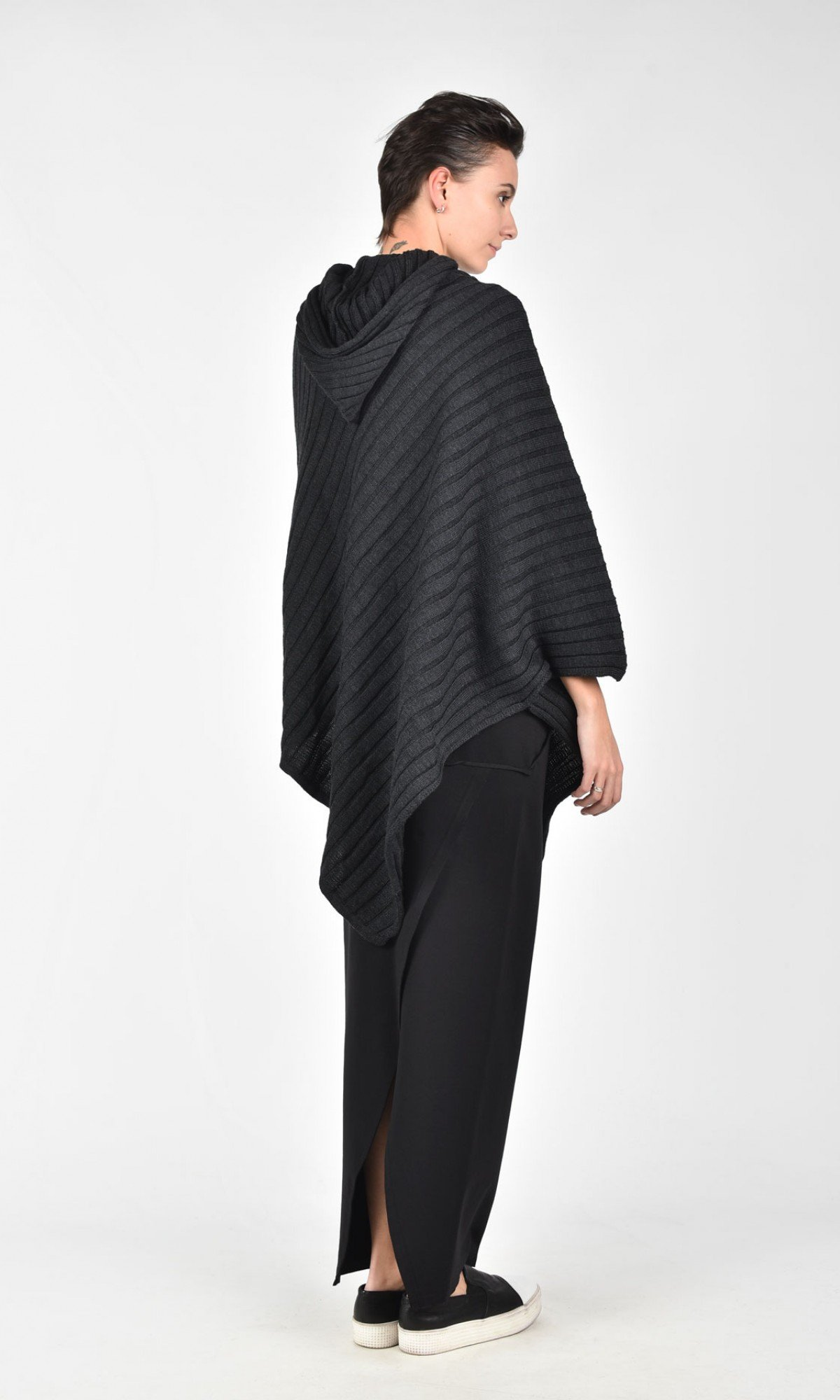 Black Hooded Knit Poncho A08056