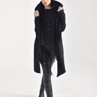 Black Hooded Soft Cotton Coat A08245