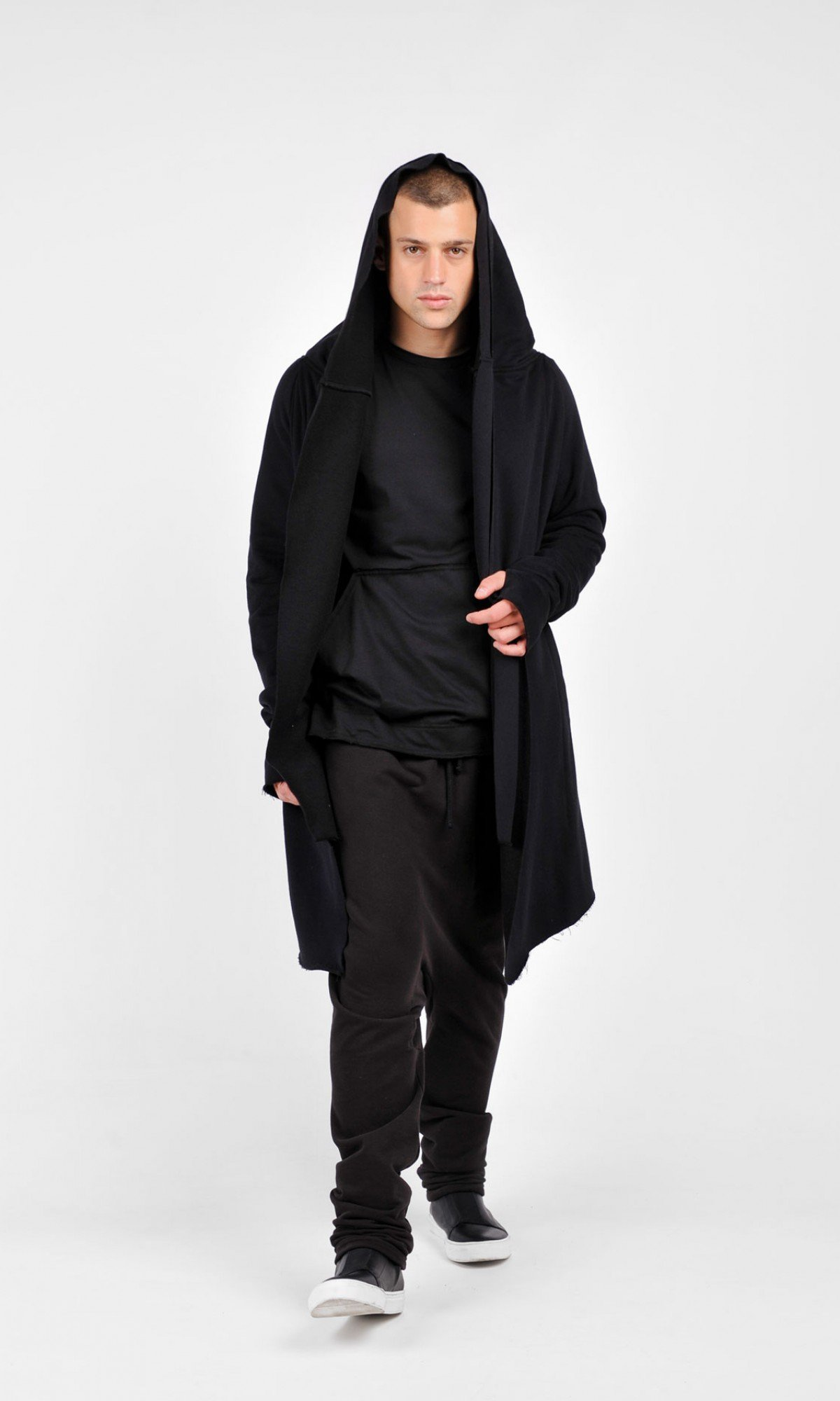 Black Hooded Soft Cotton Coat A08245M